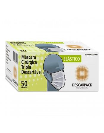 Máscara Descartável Cirúrgica Tripla com Elástico 50 Unidades Descarpack